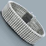 10K 7-Row Cuff Diamond Bracelet 14.70ct