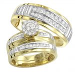10k Gold Cheap Diamond Engagement Ring and Wedding Bands Set 0.8ct