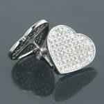 10K Gold Heart Shaped Diamond Stud Earrings 0.63ct