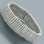 10K Gold Mens 8-Row Diamond Bracelet 8.25ct