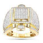 10K Mens Diamond Ring Round Pave Set Diamonds 1.68ct