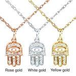 """Mini Diamond Accented Hamsa """"Hand of God"""" Pendant & Chain in 14K Gold"""
