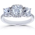 Diamond Cushion Halo 3 Stone Engagement Ring 2 7/8 CTW in 18k White Gold (Certified)