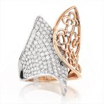 Unique 14K 2 Tone Rose Gold Womens Diamond Ring Flower Motif 2.2ct
