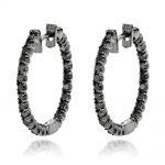 14K Black Diamond Hoop Earrings 1.79ct