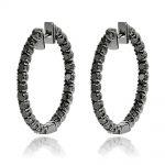 14K Black Diamond Hoop Earrings 3.15ct
