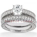 14K Designer Diamond Engagement Ring Set 0.85ct