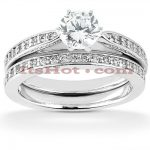 14K Designer Diamond Engagement Ring Set 0.88ct