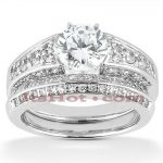 14K Designer Diamond Engagement Ring Set 1.66ct