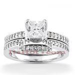 14K Diamond Engagement Ring Set 1.11ct