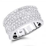 14K Gold 7 Row Ladies Diamond Ring 2ct Band