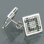 14K Gold Blue Round Diamond Square Earrings 0.81ct