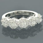 14K Gold Designer Diamond Cluster Band 0.89ct