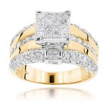 14K Gold Designer Diamond Engagement Ring 1.88ct