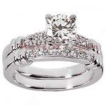 14K Gold Designer Diamond Engagement Ring Set 0.73ct