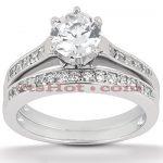 14K Gold Designer Diamond Engagement Ring Set 0.74ct