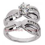 14K Gold Designer Diamond Engagement Ring Set 0.86ct