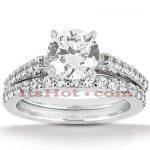 14K Gold Designer Diamond Engagement Ring Set 0.87ct