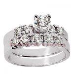 14K Gold Designer Diamond Engagement Ring Set 1.04ct