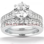 14K Gold Designer Diamond Engagement Ring Set 1.07ct