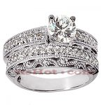 14K Gold Designer Diamond Engagement Ring Set 1.14ct