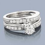 14K Gold Round Diamond Engagement Ring and Wedding Band Set 1.24ct