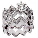 14K Gold Designer Diamond Engagement Ring Set 1.27ct
