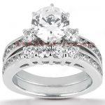 14K Gold Designer Diamond Engagement Ring Set 1.28ct