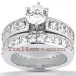 14K Gold Designer Diamond Engagement Ring Set 1.29ct