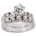 14K Gold Designer Diamond Engagement Ring Set 1.31ct