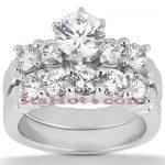 14K Gold Designer Diamond Engagement Ring Set 1.40ct