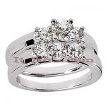 14K Gold Designer Diamond Engagement Ring Set 1.41ct