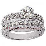 14K Gold Designer Diamond Engagement Ring Set 1.55ct