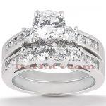 14K Gold Designer Diamond Engagement Ring Set 1.56ct