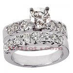 14K Gold Designer Diamond Engagement Ring Set 1.62ct