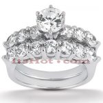 14K Gold Designer Diamond Engagement Ring Set 1.90ct