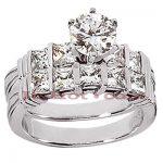 14K Gold Designer Diamond Engagement Ring Set 2.03ct