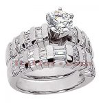 14K Gold Designer Diamond Engagement Ring Set 2.12ct