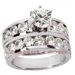 14K Gold Designer Diamond Engagement Ring Set 2.18ct