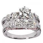 14K Gold Designer Diamond Engagement Ring Set 2.24ct