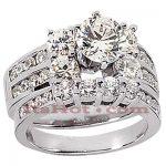 14K Gold Designer Diamond Engagement Ring Set 2.26ct