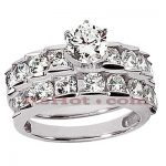 14K Gold Designer Diamond Engagement Ring Set 2.49ct