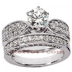 14K Gold Designer Diamond Engagement Ring Set 2ct