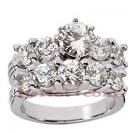 14K Gold Designer Diamond Engagement Ring Set 3.05ct