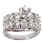 14K Gold Designer Diamond Engagement Ring Set 3.20ct