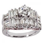 14K Gold Designer Diamond Engagement Ring Set 3.38ct