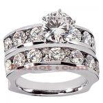 14K Gold Designer Diamond Engagement Ring Set 3.40ct