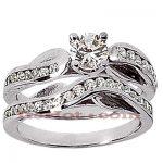 14K Gold Diamond Designer Engagement Ring Set 0.87ct