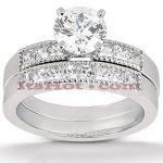 14K Gold Diamond Designer Engagement Ring Set 0.95ct