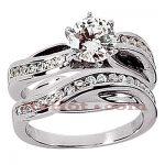14K Gold Diamond Designer Engagement Ring Set 0.97ct
